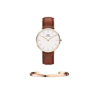 Authentic/Legit/Original Daniel Wellington Classic St. Mawes 36mm Rosegold Watch and DW Cuff Rosegold Small