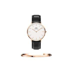 Authenthic/Legit/Original Daniel Wellington Classic Sheffield 40mm Rosegold Watch and DW Cuff Rosegold Large