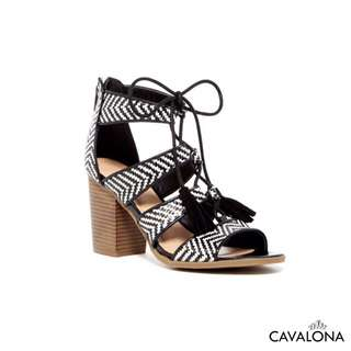 [NEW] [Branded] indigo rd. Lace Up City Sandals Heels Lebar Monochrome dengan Tassel