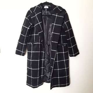 Long Checkered Winter Coat