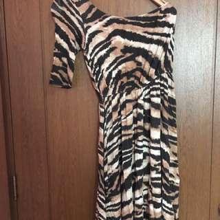 Bershka One Shoulder Animal Print Dress