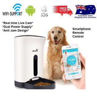 4.3L Automatic Pet Cat Dog Food Bowl Dispenser + IOS Android App Wifi Webcam