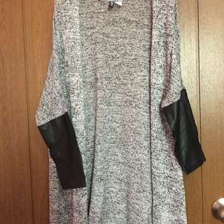 H&M Long Cardigan With Faux Leather Sleeves