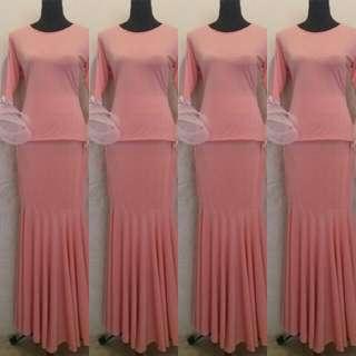 Peachy Pink kurung Moden