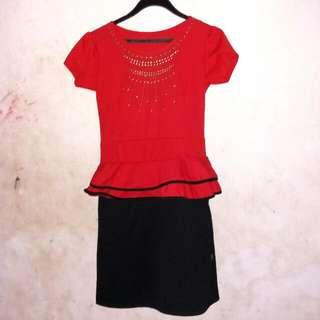 Mini Dress Red Black