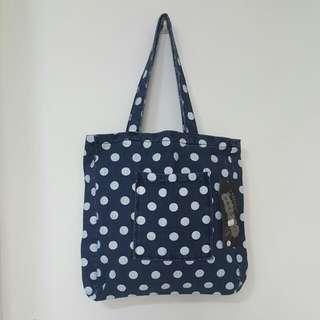 Polka Dots Denim Tote Bag [T-7]