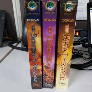 Rick Riordan Kane Series. The Red Pyramid, The Throne Of Fire And The Serpent Shadow