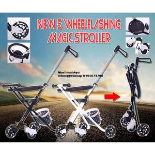 New 5 WheelFlashing Magic Stroller 5WHEEL+BASKET+FENCE