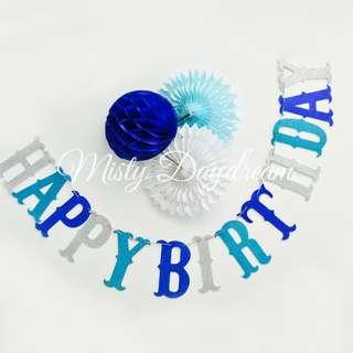 Glitter HAPPY BIRTHDAY Lettering (Blue)