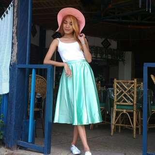Liz Midi Skirt In Mint Color By Teena Sabrina Tan