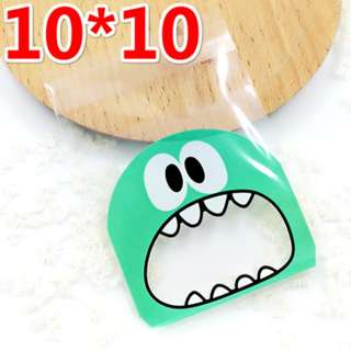 G15 - Self Adhesive Cookie Wrapper/Goodie Bag -  Monster (Green) 10cm x 10cm