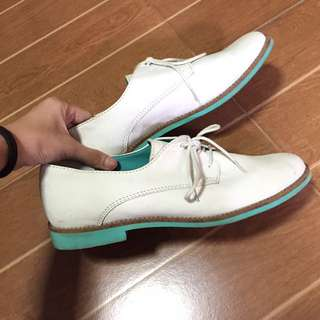 HK Brand Genuine White Leather Moccasins with Mint Accent