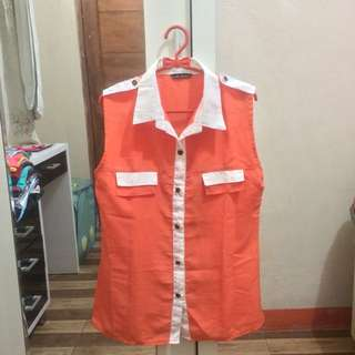 Orange Sleeveless Shirt/Kemeja Oranye tanpa lengan