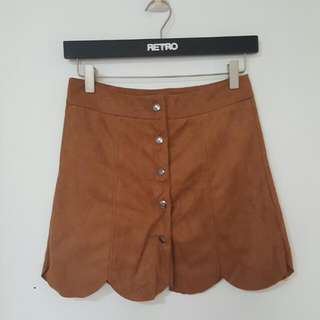Brown Suede Scallop Skirt [T-8]
