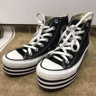 CONVERSE 基本款黑白相間厚底鞋