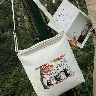 帆布包浮世繪貓咪印花大容量手提單肩學生包包小清新帆布袋
