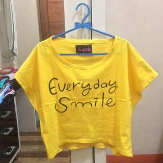 Yellow Everyday Smile Tumblr T-Shirt Crop Tee