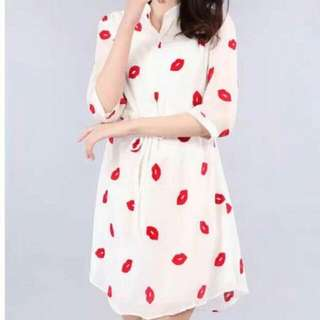 3/4 Polo Mini Lip Design Dress