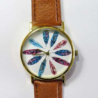 Colorful Feathers Watch, Women;s Watch, Vintage Watch
