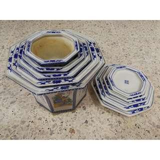 Vintage Chinese Flower Pot 5pcs Set