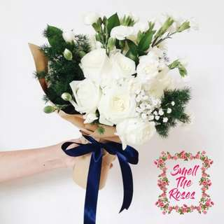 """Love and Respect"" Fathers Day Special - Roses, Carnation, Fish Leaf and Baby Breath Designer Bouquet w/ FREE SURPRISE DELIVERY"