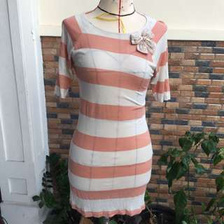 Zara Stripe Dress W Ribbon