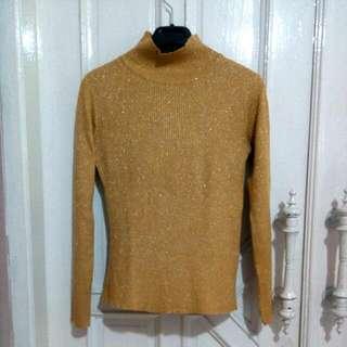 Gold Glittery Turtleneck Sweater