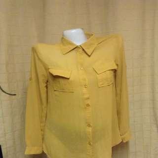 Mustard Sheer Top