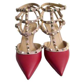 Authentic Valentino Red Rockstud Kitten Heels Size 40
