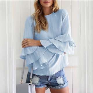 FREE POSTAGE LOOSE FLARE BABY BLUE BLOUSE ❤️
