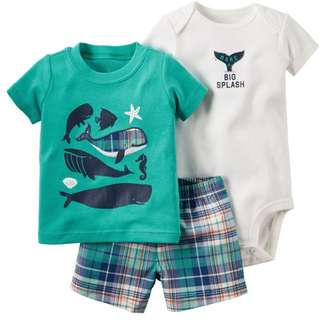 Sea Creatures Design Baby Clothing 3pcs Set