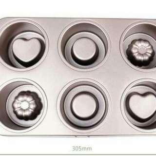 凹凸6連模具/堡爾美克~心形/圆形/花形蛋糕烘焙模具