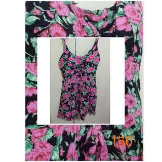 Flower Mini Dress With Pads