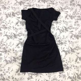 Black Dress With Stretchy Bands