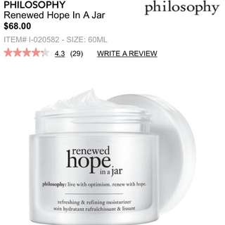 New Philosophy Renewed Hope In A Jar Moisturizer 60ml