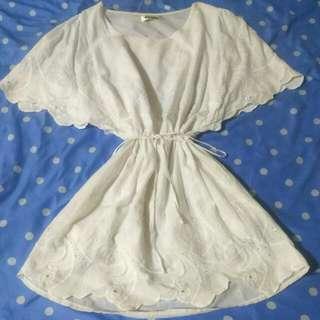 For Miss全白色 飄飄袖口 雕花邊設計 洋裝  #十二月免購物直接送