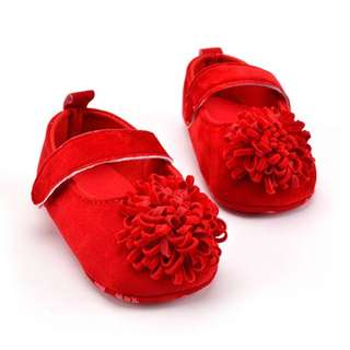 Classic Suede Baby Shoes with Flower