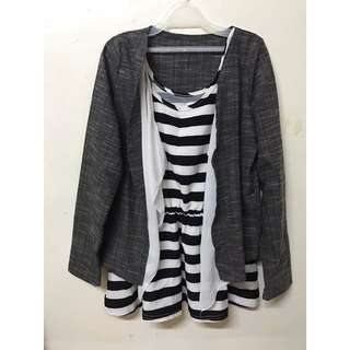 34-條紋背心上衣+外套