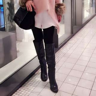 Written  High Knee Boots Leather Shoes