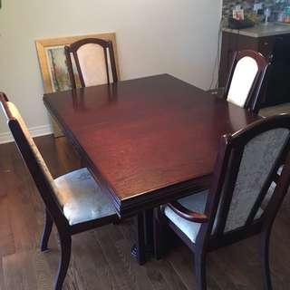 Dark Wooden 4 Piece Dining Set