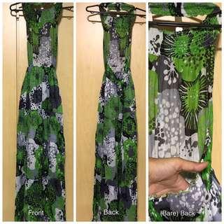 Dress: Long Flowy Maxi, Halterneck, Bareback