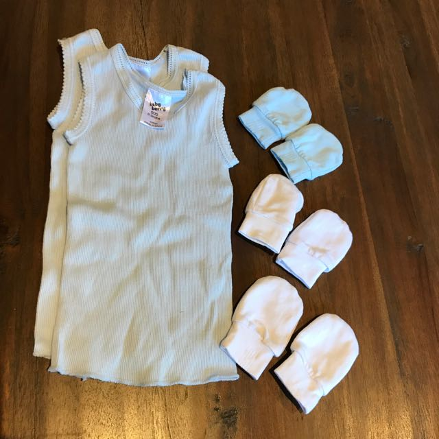 2 Blue NewBorn Singlets and 3 Pairs Of Mittens