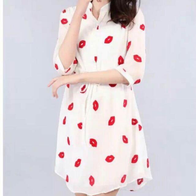 3/4 Polo Mini Lip Design Dress