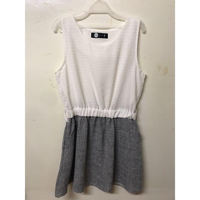 18-白灰縮腰洋裝