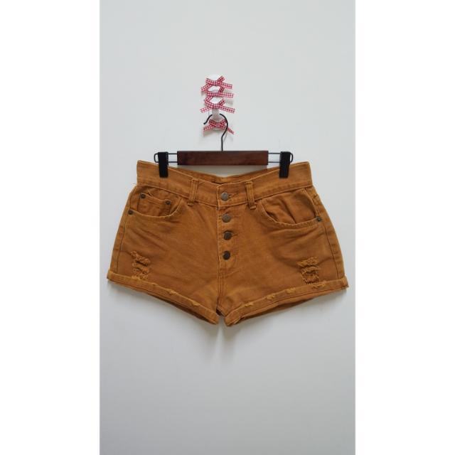 ●復古褐色排扣微破壞造型褲管反摺高腰合身牛仔短褲 #運費我來出