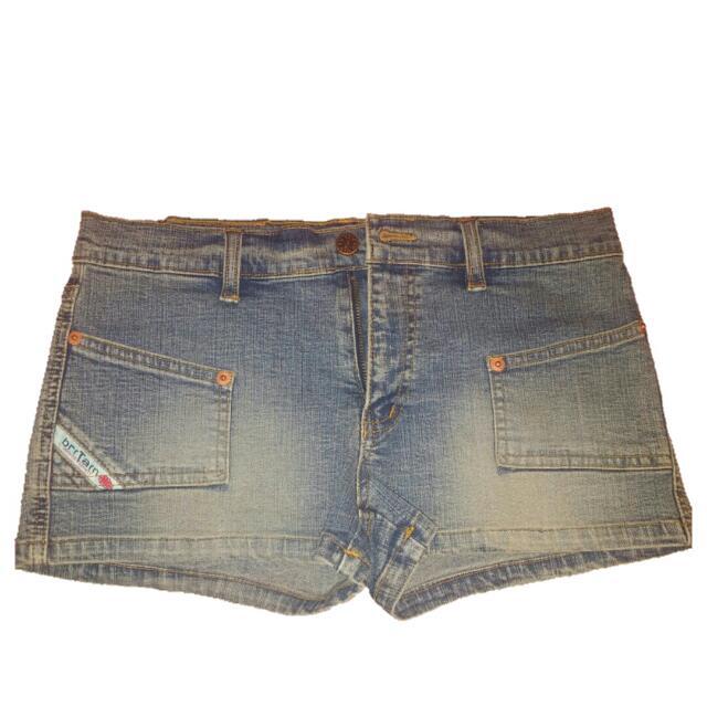 """#百元全新女裝 (新的沒穿過) """"briTain""""denim shorts仿舊淺藍牛仔短褲(低腰款) petite shorts"""