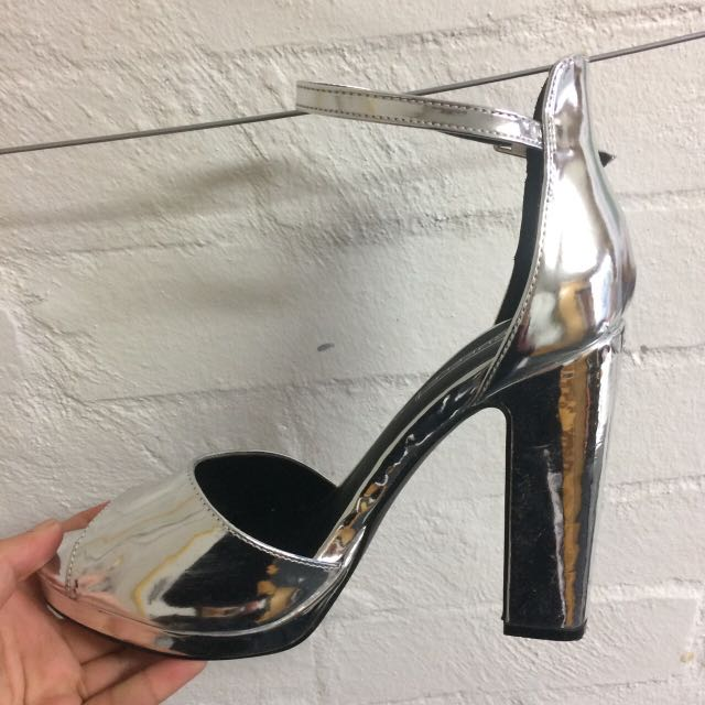 Amazing Chunky Silver Heels PRICE DROP