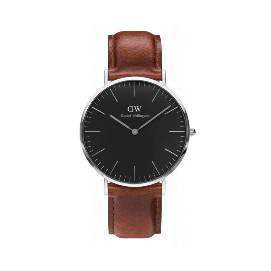 Authentic/Legit/Original Daniel Wellington Classic Black St. Mawes 40mm Silvr Watch