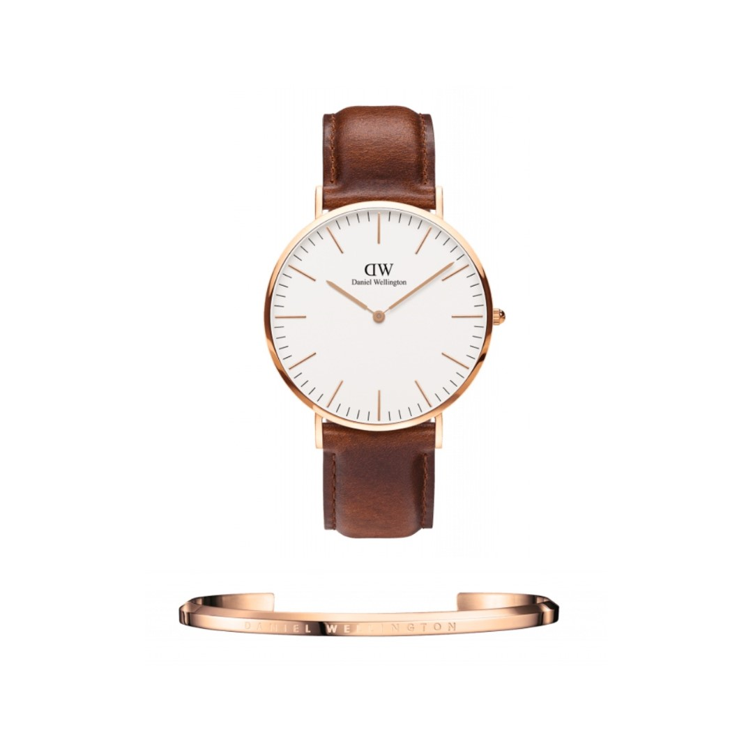 Authentic/Legit/Original Daniel Wellington Classic St. Mawes 40mm Rosegold Watch and DW Cuff Rosegold Large