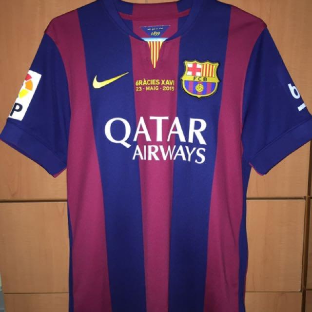 best cheap 0c664 0389a Barcelona 14/15 Treble Winner Xavi Last Replica Jersey Size ...